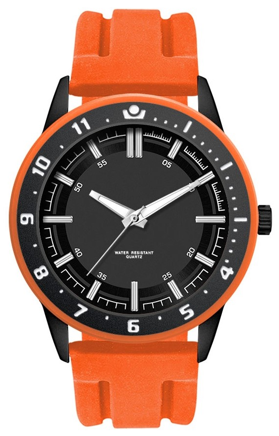 Surfer herenhorloge oranje-zwart
