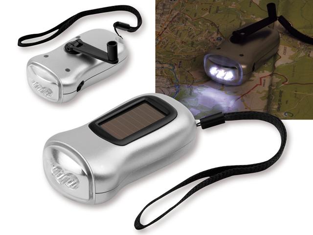 3 LED solar dynamo flash light