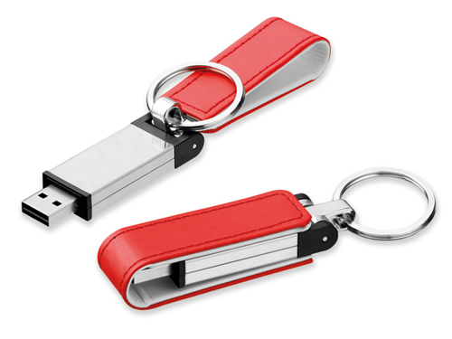 USB FLASH 32 GB from metal and imitation of leather, 2.0