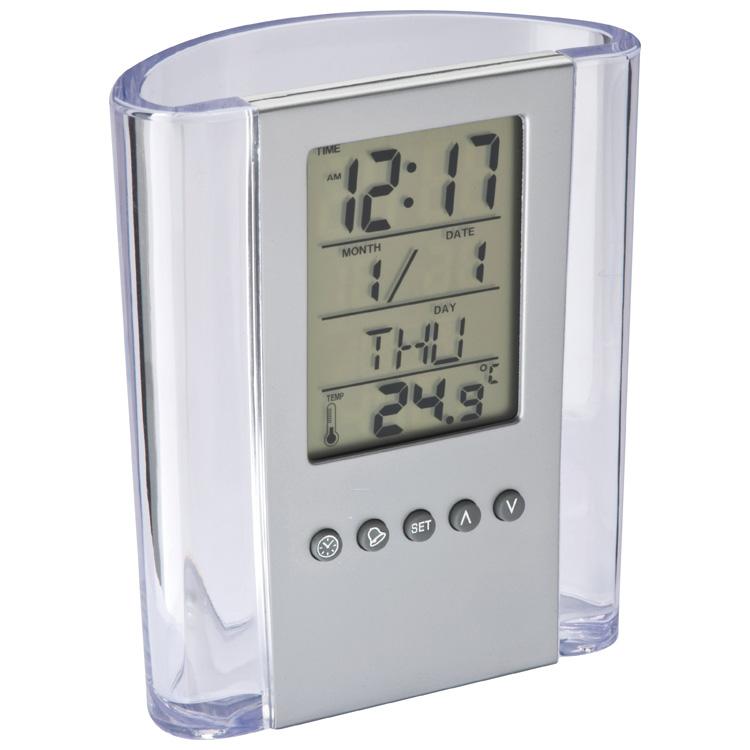 Acryl pennenhouder met klok, datum, dagaanduiding en thermometer