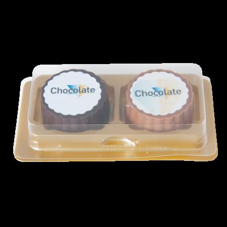 Logobonbon van puur/melk chocolade