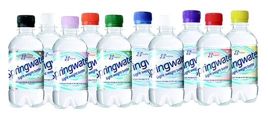 Bronwater 330ml in transparante lightweight fles met platte groene dop