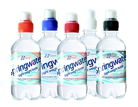 Bronwater 330ml in transparante lightweight fles met een blauwe sportdop