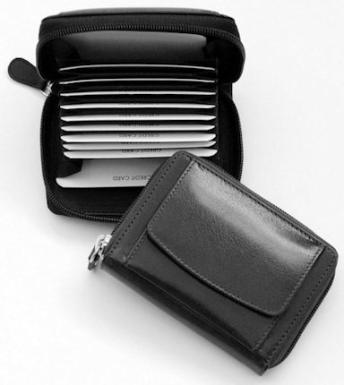 Creditcard etui zwart nappa rundleder