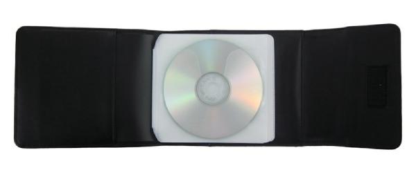 Dvd / cd etui, zwart bonded leder