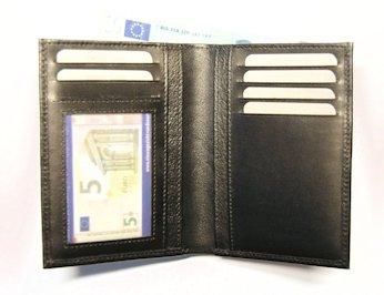 Creditcard etui zwart glad rundleder