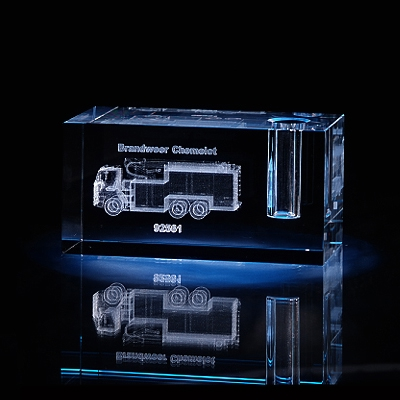 Laser in glas 5x5x12cm Penhouder