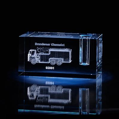 Laser in glas. Penhouder