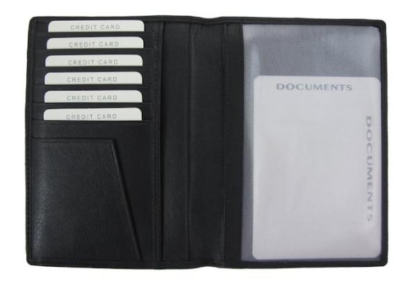 Paspoort houder zwart nappa rundleder