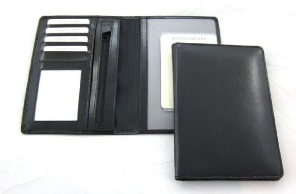 Autopapierenetui zwart bonded leder