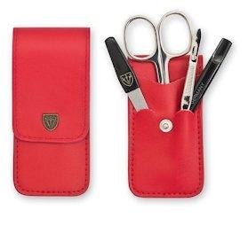 Manicureset rood leder